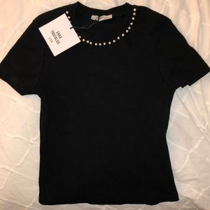 ZARA black pearl fitted shirt